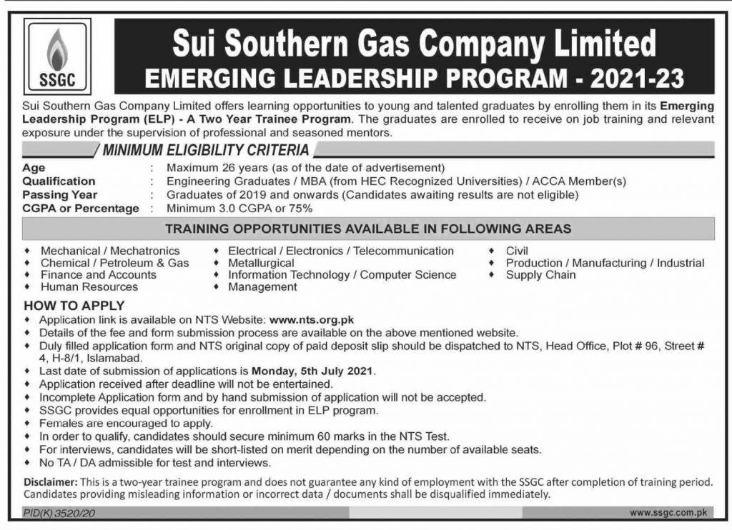 Sui Southern Gas Emerging Leadership Program 2021-23