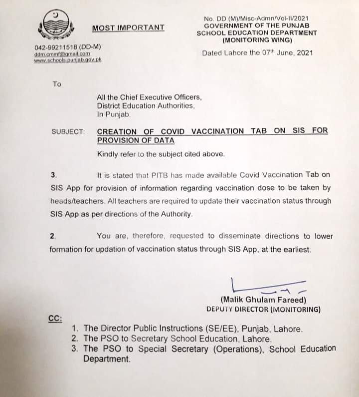 Update Covid Vaccination of Teachers on SIS App 2021