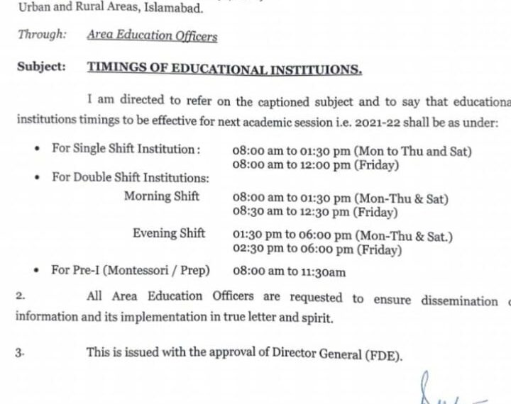 Federal Timing of Educational Institutions For Session 2021-22