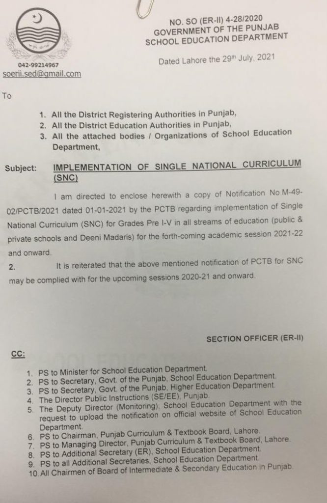 Notification of Implementation of Single National Curriculum SNC 2021