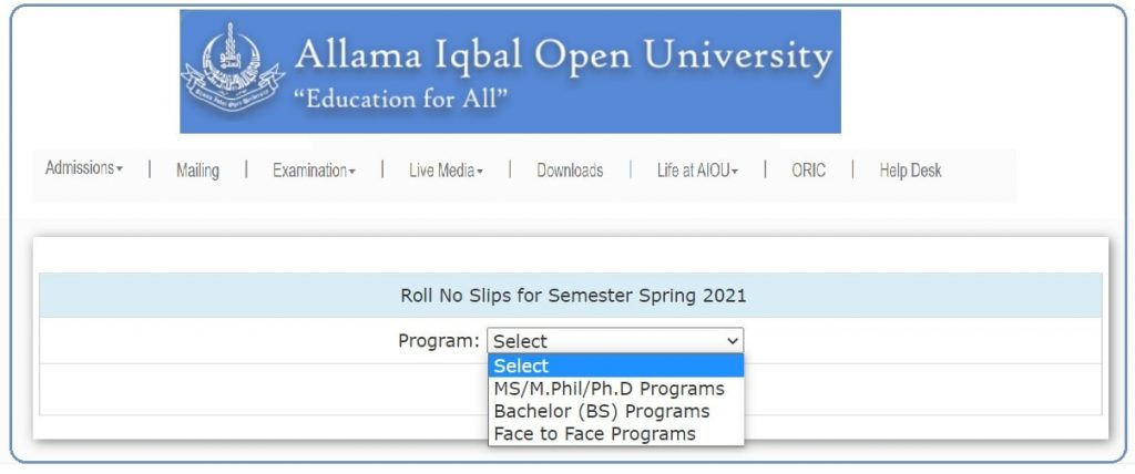 Select Your AIOU Program For Desired Roll Number Slip
