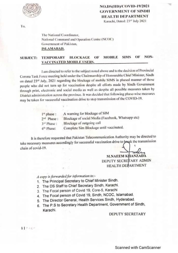 Sindh Govt Notification of SIMS Blockage of Non-Vaccinated Mobile Users