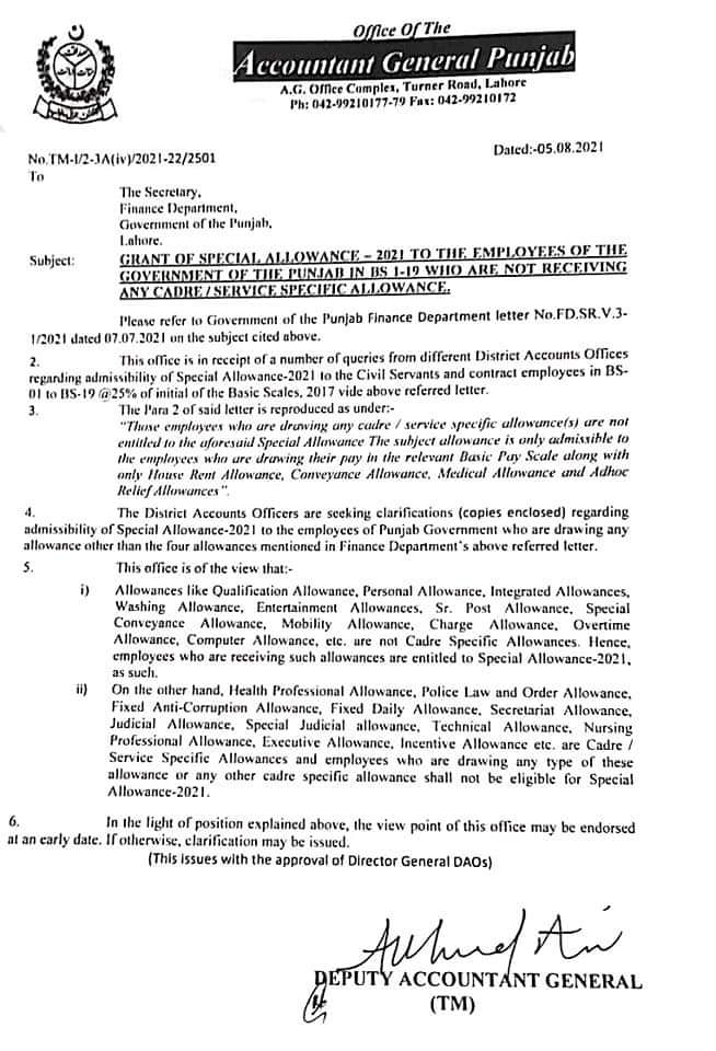 Confirmation of 25% Special Allowance 2021 Punjab Govt Employees