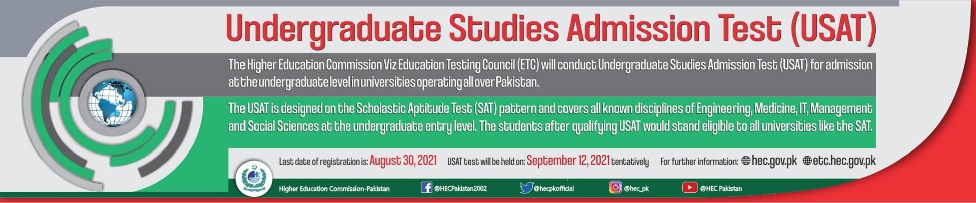 HEC Undergraduate Studies Admission Test (USAT) 2021
