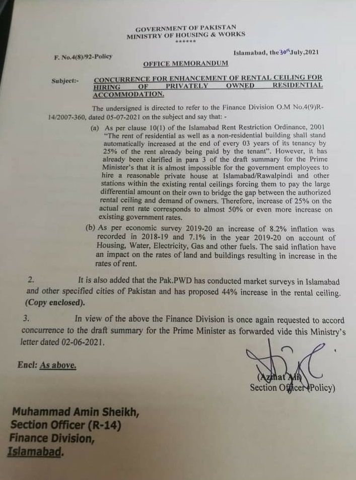Notification of Enhancement of Rental Ceiling For Privately Owned Residential Accommodation 2021