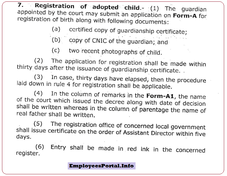 Registration of Adopted Child