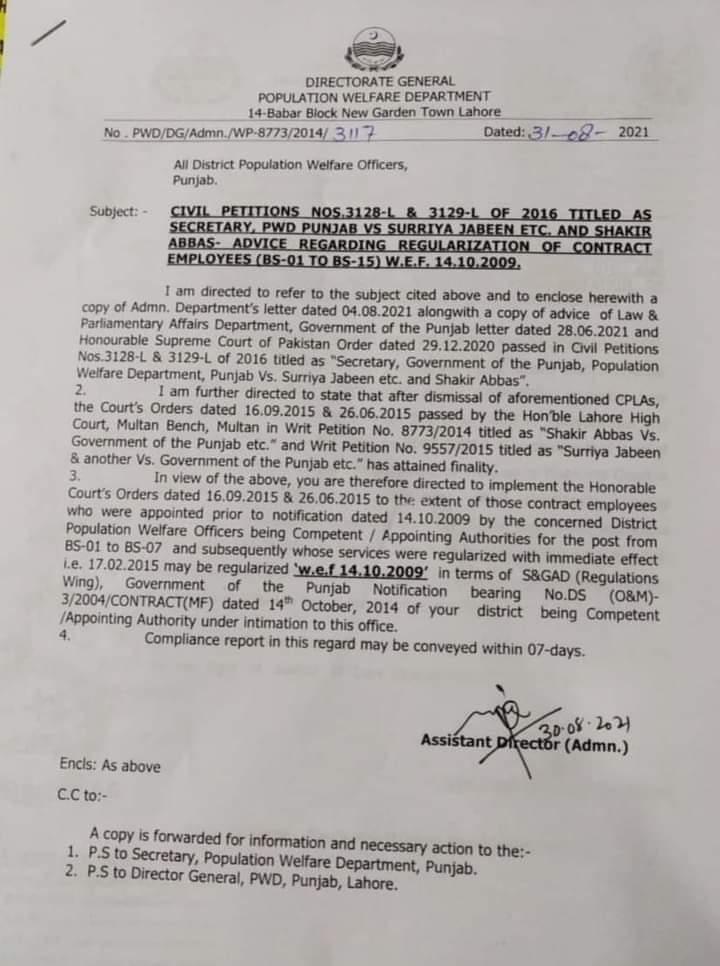 Civil Petitions For Regularization of Contract Employees (BS-01 To BS-15)
