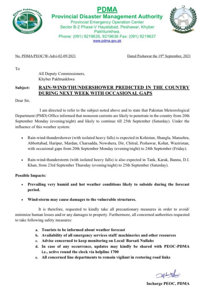 Influence of Weather Alert Due To Heavy Rainfall in KPK