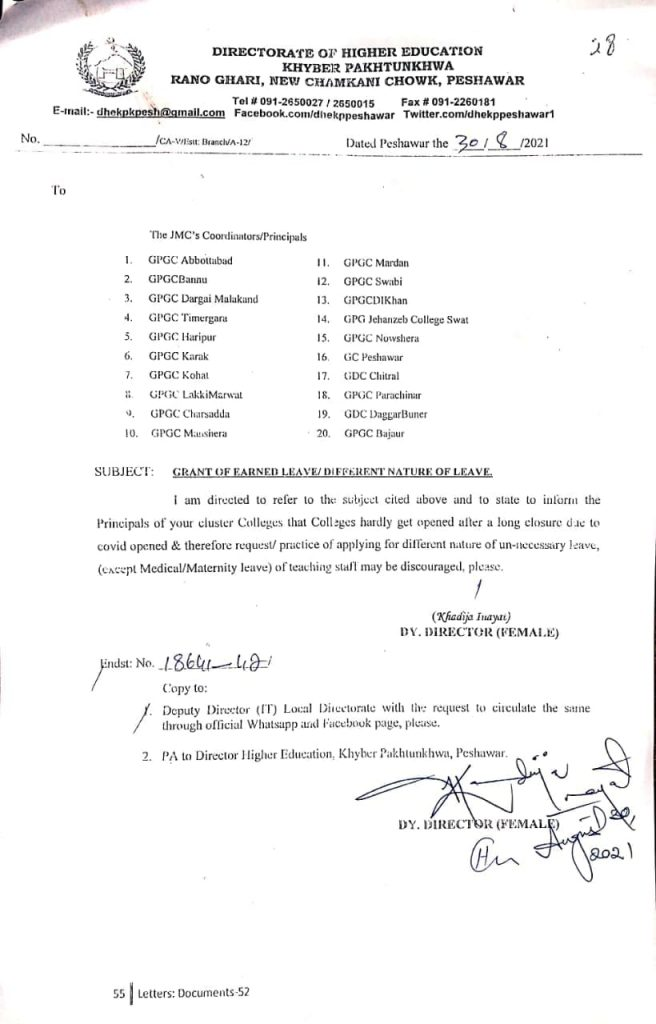 KPK Higher Education Discourage Earned/Unnecessary Leave of Teachers 2021
