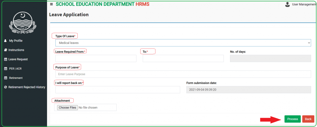 Leave Application Form on HRMS