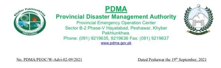 PDMA Announces Isolated Heavy Rainfall For KPK