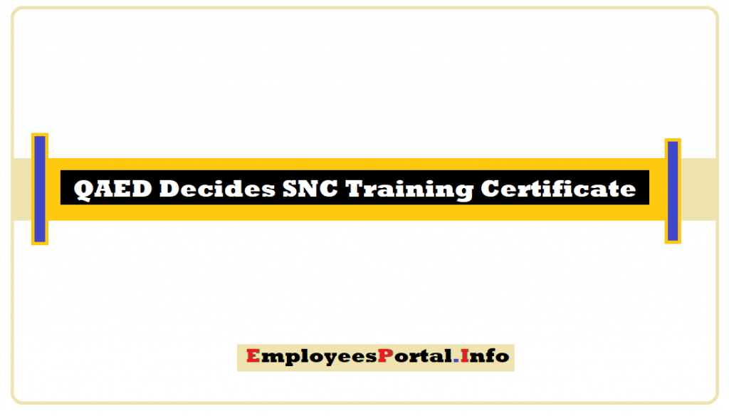 QAED Decides SNC Training Certificate For Online Trained Teachers