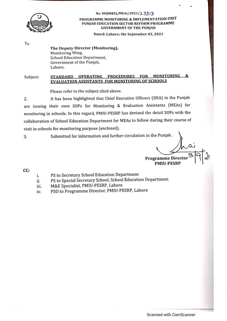 SOPs of MEAs For Monitoring of Schools
