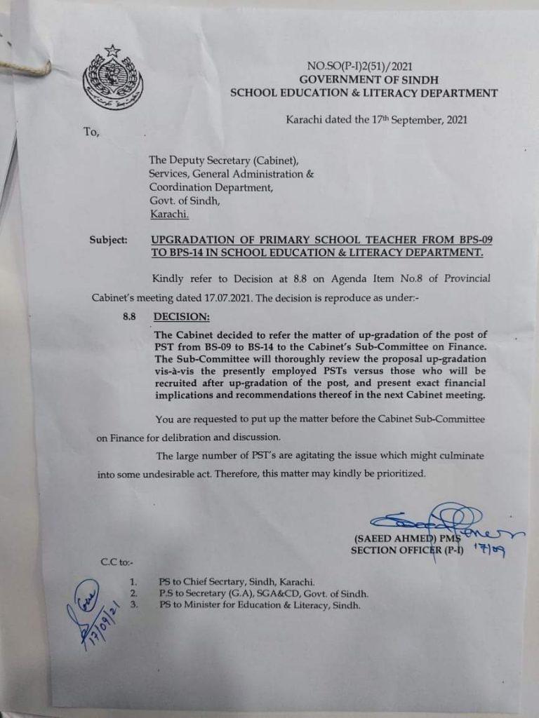 Upgradation of School Teachers (BPS-09 To BPS-14) 2021 Sindh