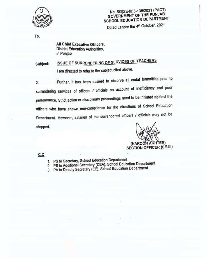 Issuance of Surrendering of Teachers Services 2022