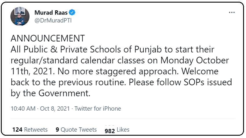 Schools in Punjab: Reopen Regular Classes
